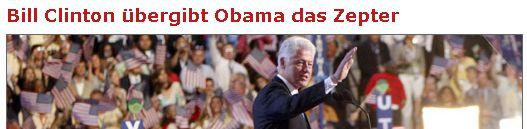 Bill Clinton übergibt Obama das Zepter