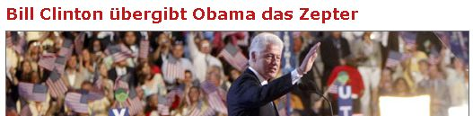 Bill Clinton übergibt Obama das Zepter